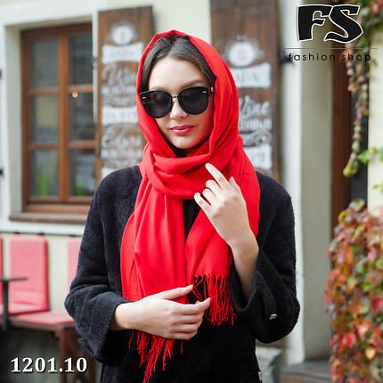 Красный  стильный шарф из пашмины, фото 2