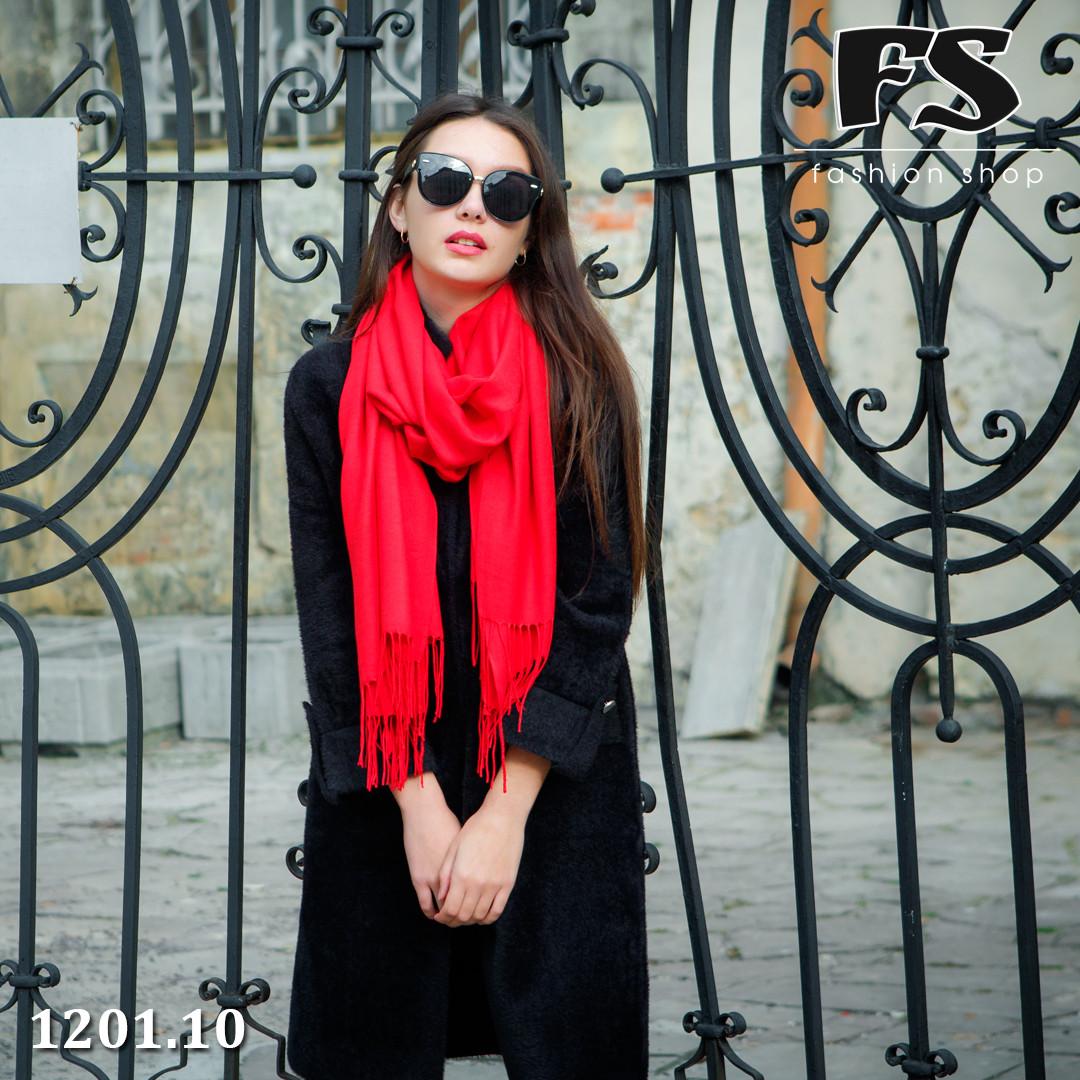 Красный  стильный шарф из пашмины