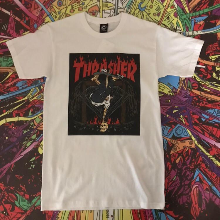 Белая футболка Thrasher. Люкс