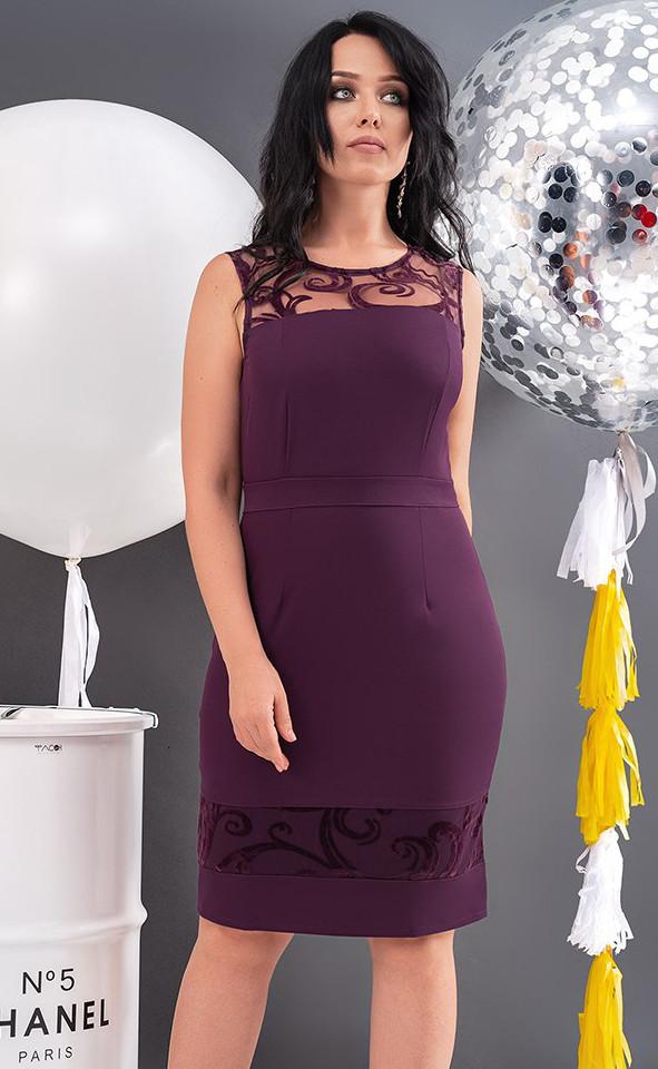 e150d5775438d17 Вечернее платье без рукава сиреневого цвета. Модель 19776. Размеры 48-54 -  Irse