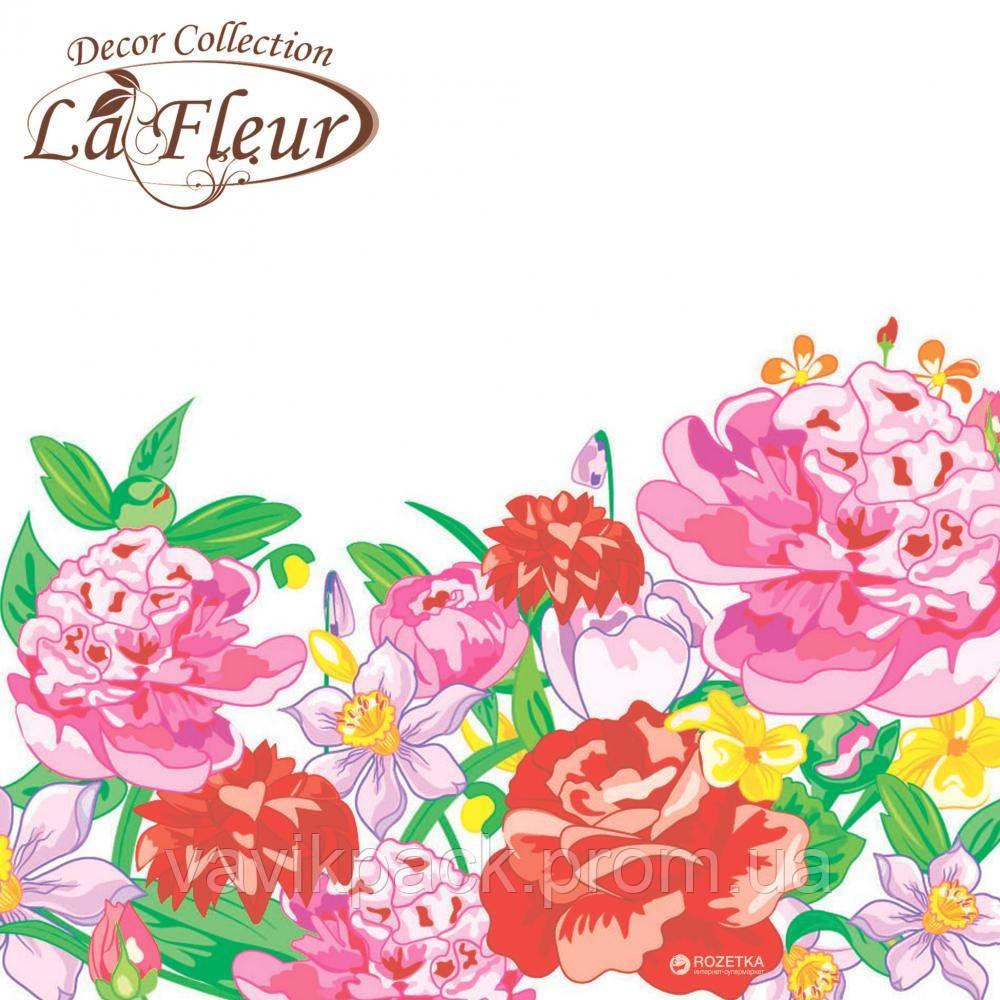 """Столовые салфетки ТМ """"La Fleur"""" Цветущие пионы"""