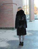 Шуба из меха североамериканской норки крой халат с капюшоном коричневая