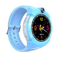 Детские умные часы Motto круглые с GPS трекером  S-02 Голубые  с гарантией 6 месяцев, фото 1