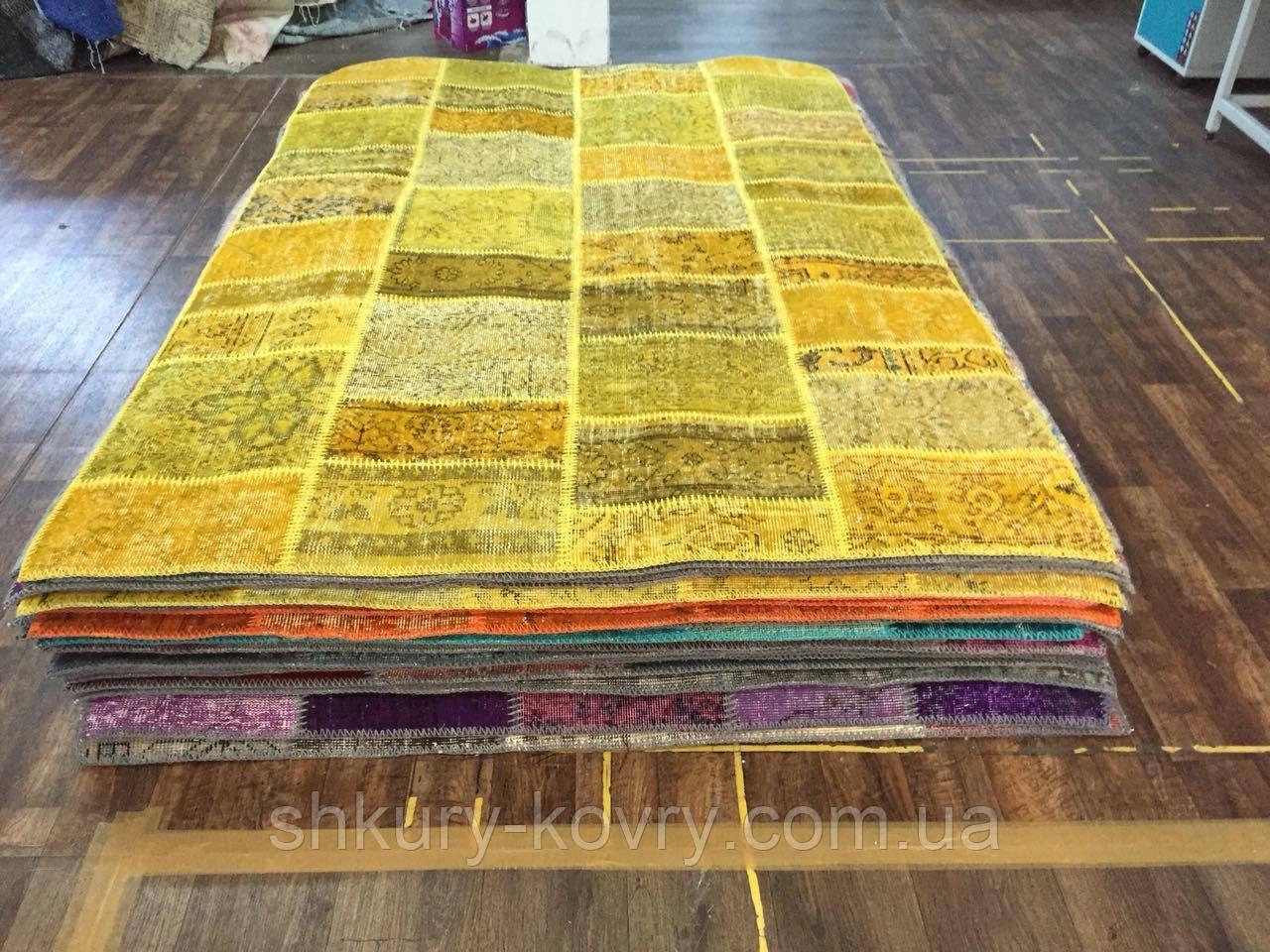 Желтый состаренный ковер, лоскутные ковры в Одессе