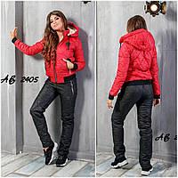 Тёплый женский лыжный зимний костюм штаны куртка на синтепоне овчине PP красный чёрный 42 44 46 48 50 52 54 56, фото 1