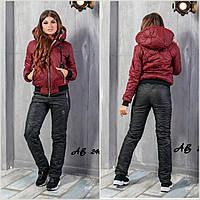 Тёплый женский лыжный зимний костюм штаны куртка PHILIPP PLEIN бордовый с чёрным 42 44 46 48 50 52 54 56, фото 1