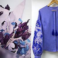 8e609332479b73 Вишиванка жакет пишні рукава вишивка троянди хрестик відтінки синього та  лаванди