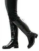Сапоги женские черные кожаные розница/опт Passo Avanti натуральная кожа (8505)