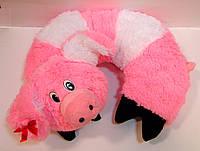 Декоративная меховая подушка-рогалик для шеи Свинка