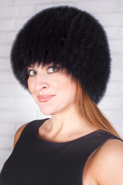 Вязаная женская шапка из песца Vp00023 Черный
