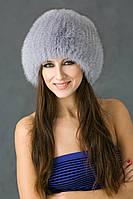 Вязаная круглая женская шапка из песца Vp00023 Светло-серый
