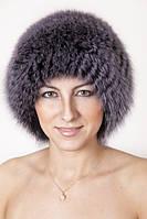 Вязаная круглая женская шапка из песца Vp00023  Темно-серый