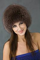 Вязаная  круглая женская шапка из песца Vp00023  Коричневый