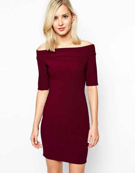 7fdc7edc224 Платье трикотажное бордового цвета с открытыми плечами - Интернет-магазин  одежды и обуви от производителя