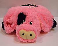 Декоративная меховая подушка Свинка