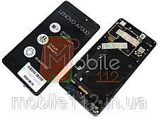 Модуль для Lenovo A7000 + (Дисплей + тачскрин), (1280x720), с передней панелью оригинал, черный