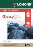 Бумага для струйных принтеров глянцевая Lomond 170 г/м2 А4 50л.