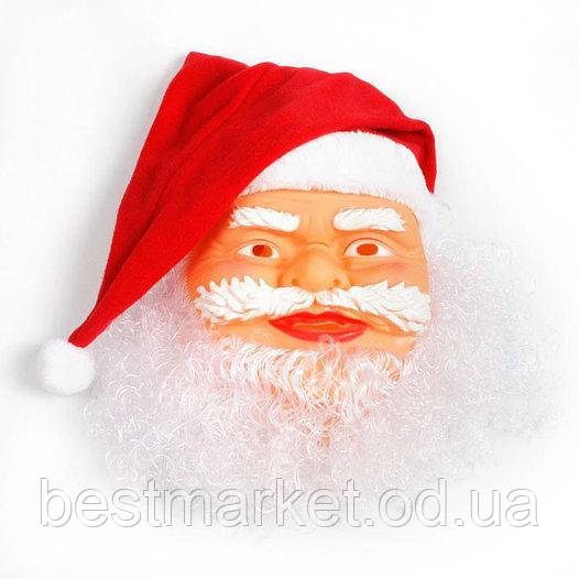 Новогодняя Карнавальная Резиновая Маска с Шапкой Деда Мороза для Нового Года