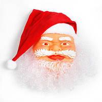 Новогодняя Карнавальная Резиновая Маска с Шапкой Деда Мороза для Нового Года, фото 1