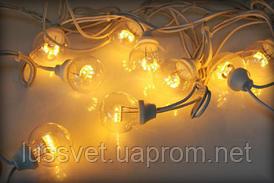 Гирлянда из лампочек уличная 10м HOLIDAY BULB  20ламп  белая, тепл.белая (черн. кабель)