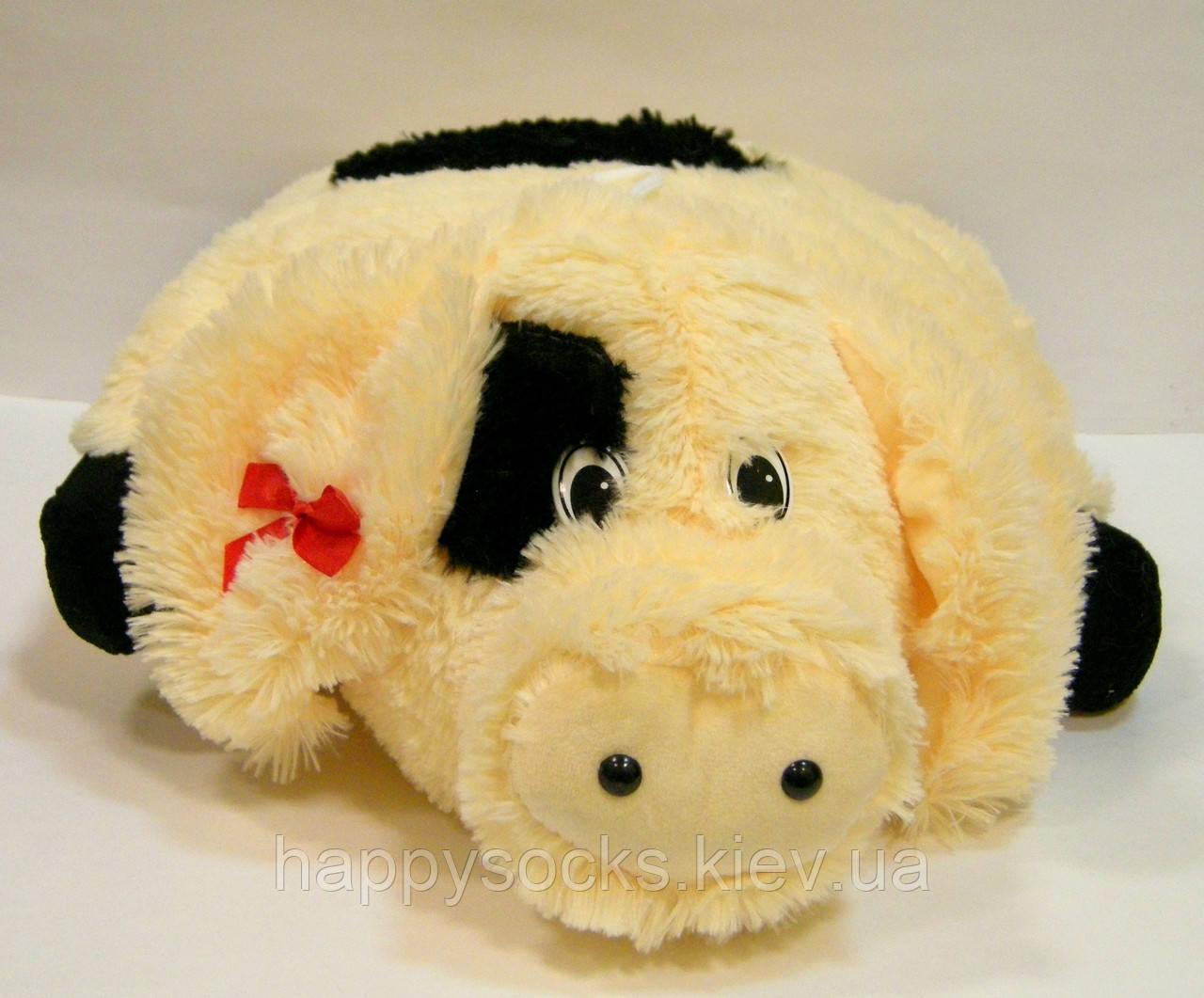 Подушка декоративная меховая Свинка