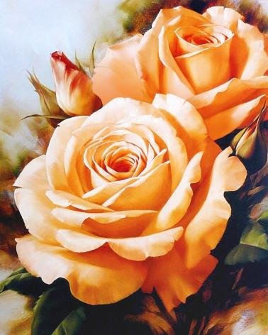 Алмазная вышивка Букет чайных роз