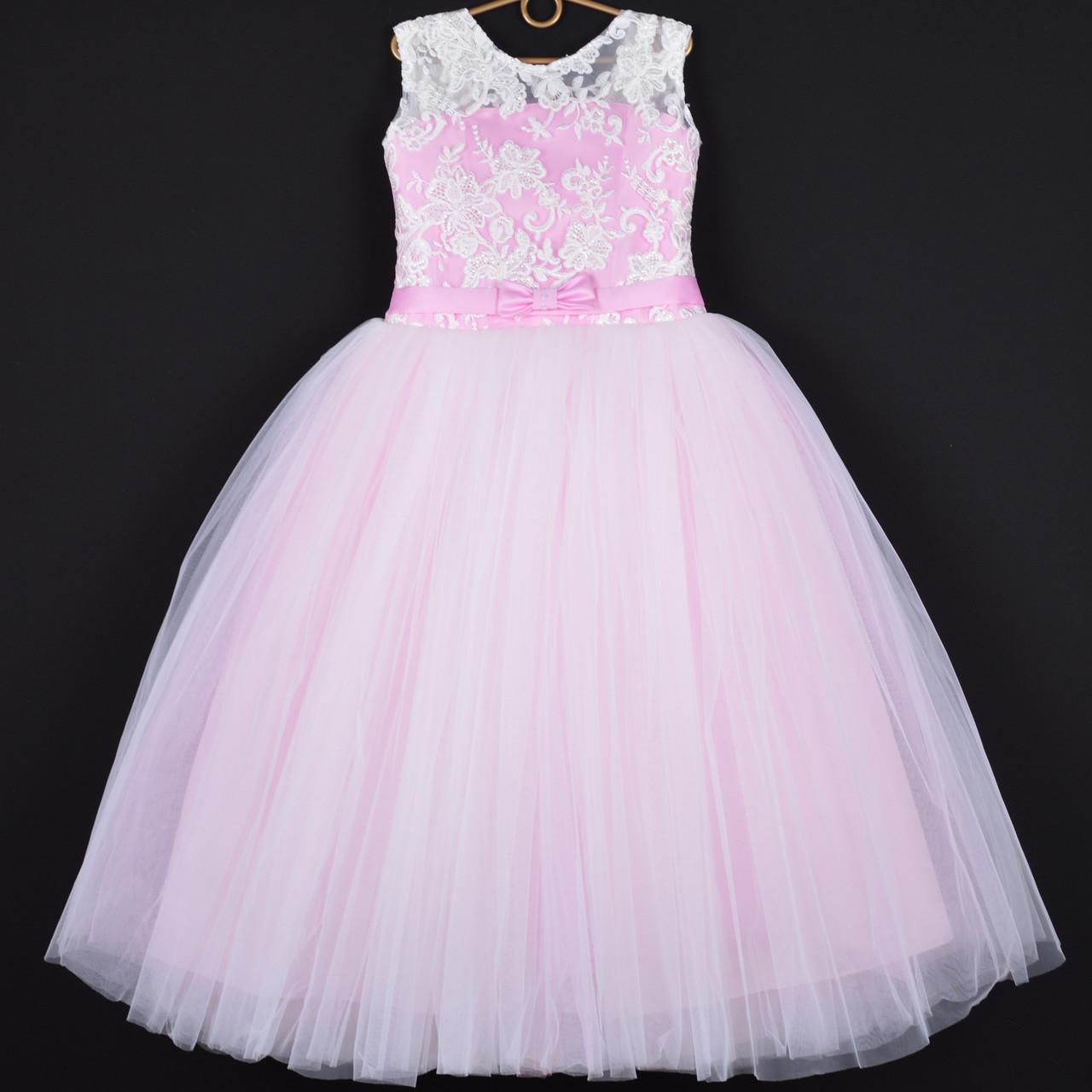 """Платье нарядное детское """"Герда"""" с бантиком. 8-9 лет. Розовое. Оптом и в розницу"""