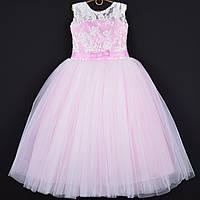 """Платье нарядное детское """"Герда"""" с бантиком. 8-9 лет. Розовое. Оптом и в розницу, фото 1"""