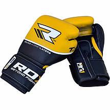 Боксерские перчатки RDX Quad Kore Yellow 14 ун., фото 3