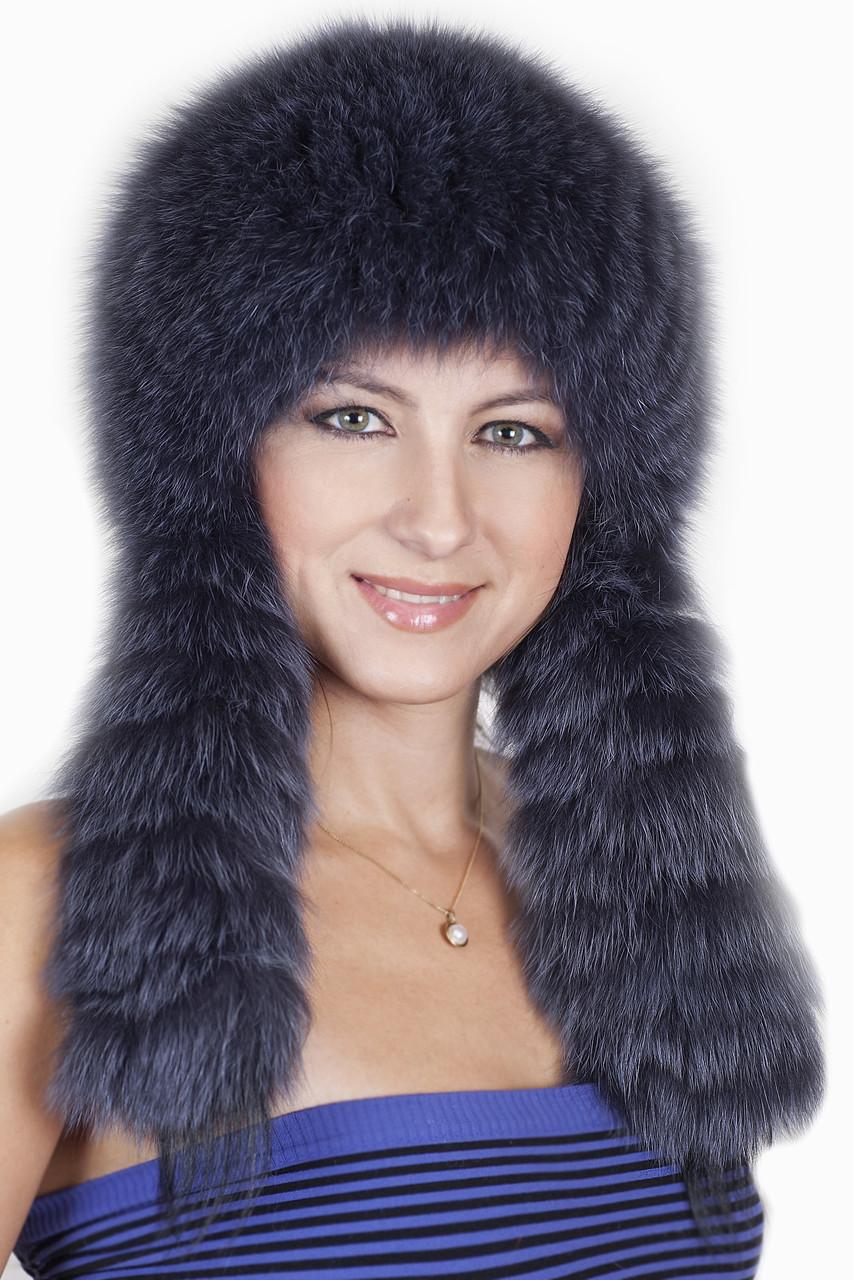 Женская меховая шапка с длинными ушами на трикотажной основе  198905 Темно Серый