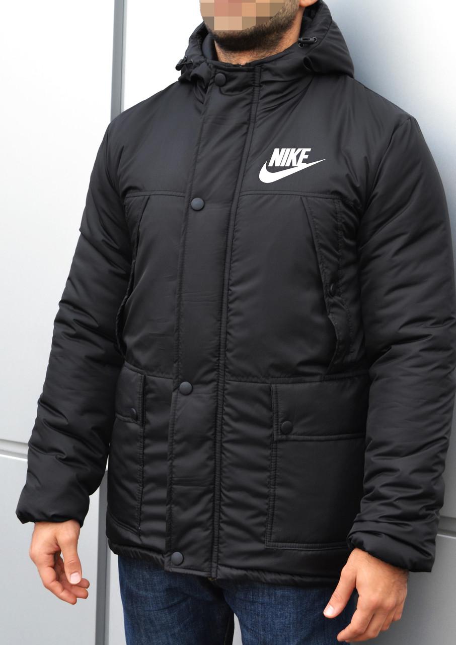 d1146a2c Куртка парка мужская зимняя теплая черная Nike Найк - Доберман шоп -  уличный шмот в Харькове