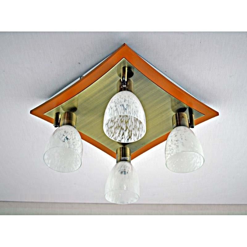 Люстра бронзоваяс деревянными вставками на четыре лампы и прозрачным плафоном SW-12138/4C AB WOOD