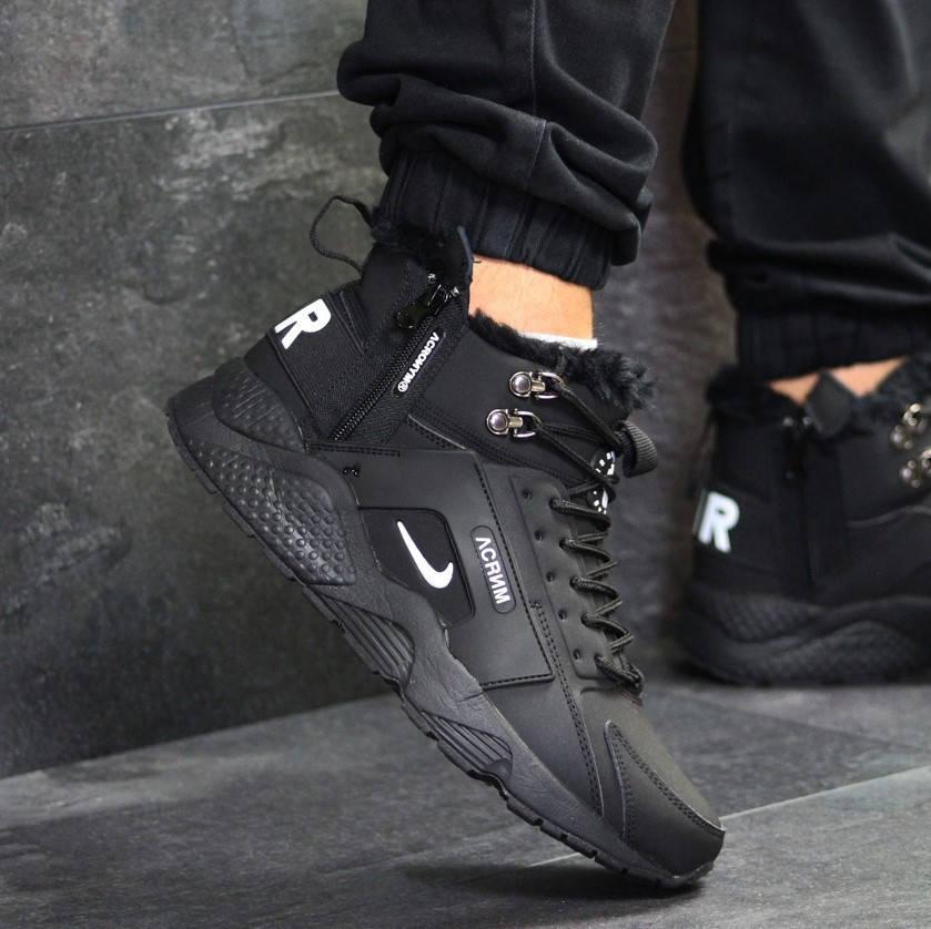 Nike Huarache Acronym Black (зимние с мехом) (в стиле nike)