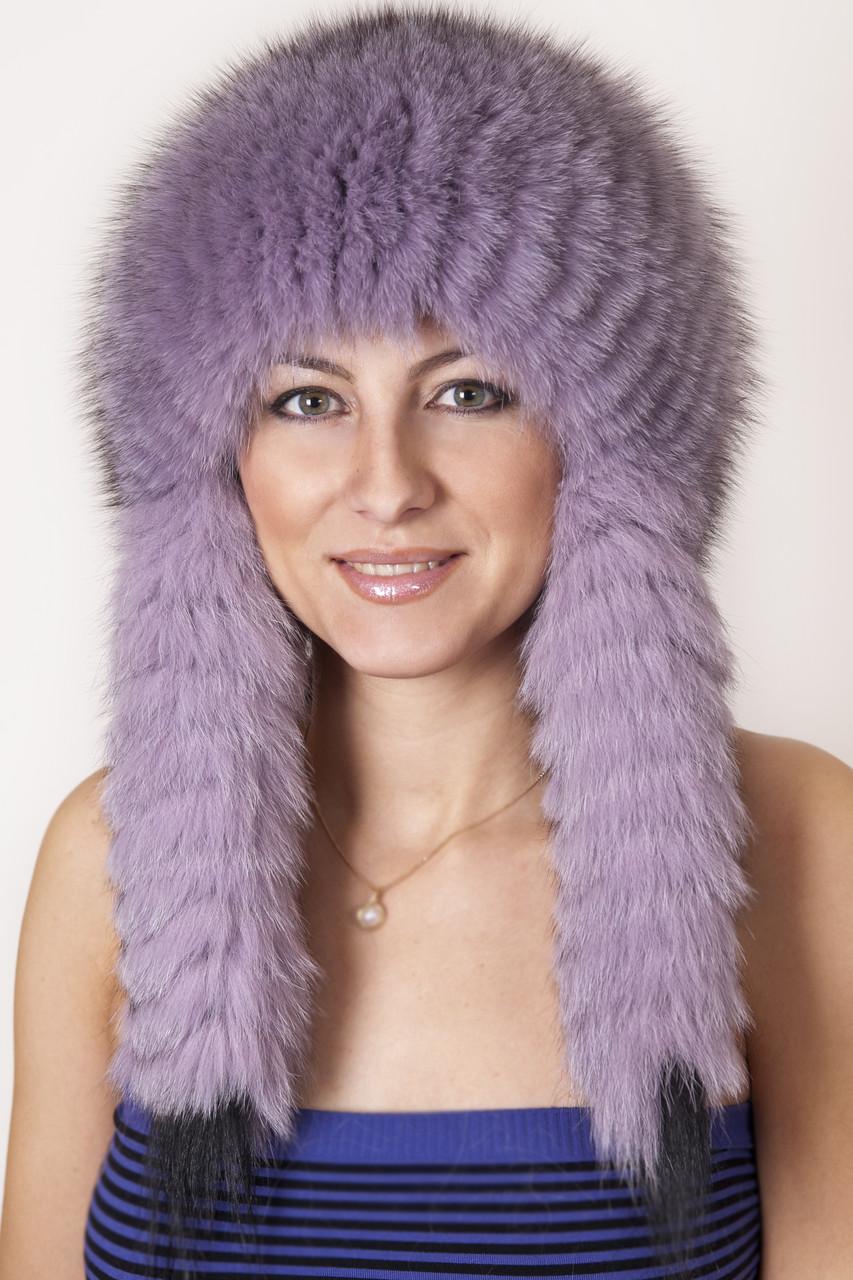 Женская меховая шапка с длинными ушами на трикотажной основе  198905  Сирень