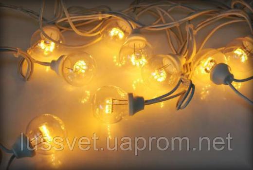 """Гірлянда світлодіодні лампочки 10м HOLIDAY BULB 50ламп"""" біла, теп. біла (черн. кабель)"""