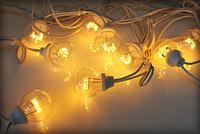 """Гірлянда світлодіодні лампочки 10м HOLIDAY BULB 50ламп"""" біла, теп. біла (черн. кабель), фото 1"""