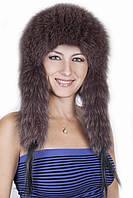 Женская меховая шапка с длинными ушами на трикотажной основе  198905 Коричневый