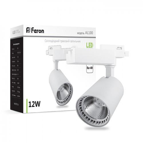 Трековый светодиодный светильник Feron AL100 12w 4000К белый