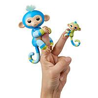 Інтерактивна мавпочка WowWee Fingerlings Baby Monkey & Mini BFFs Billie & Aiden Finger Puppets, Blue Green