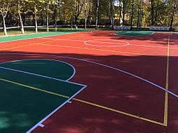 Монтаж двухслойного покрытия для спортивной площадки окончен.