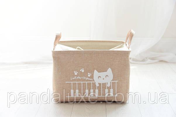 Корзина для игрушек на завязках Кот пианист, фото 3