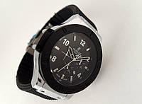 Мужские часы HUBLOT - черный ремешок, цвет корпуса серебристый, фирменная застежка