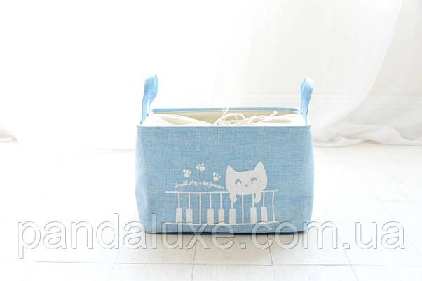 Корзина на завязках для хранения игрушек, белья, вещей Кот пианист, фото 3