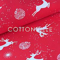 ✁ Отрезы бязи Рождественские олени красная, фото 1