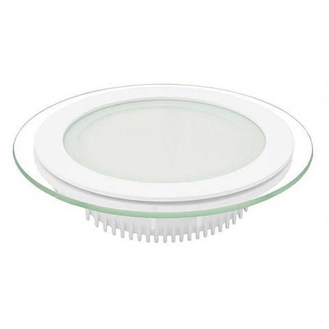 Светильник врезной со стеклом круглый LED 12 ВТ теплый белый LED-457/2 18W 3000K WT