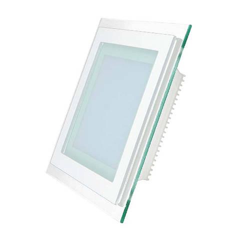 Светильник врезной со стеклом квадрат LED 12 Вт нейтральный LED-459/1 12W 4000K WT