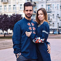 Чоловіча стилизована вишита сорочка темно-синій льон вишивка червона з  білим 48 a74efc971bb95