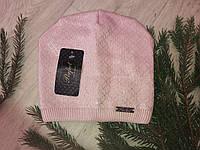 Вязаная зимняя подростковая шапка на девочку, пр-ль Польша (размер 52-58), фото 1