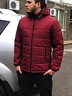 Классическая мужская, бордовая зимняя куртка, чоловіча зимова куртка