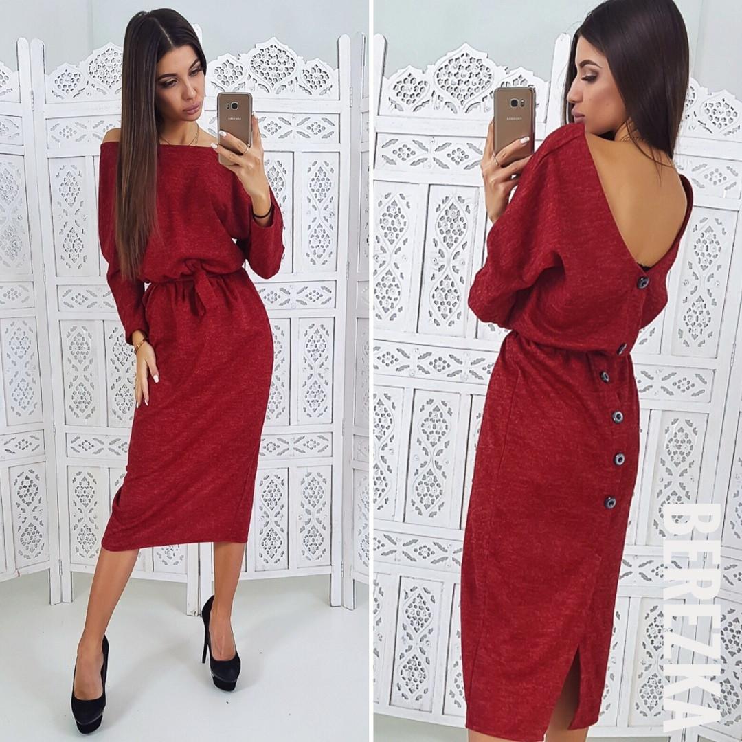 cac174b8ec6 Платье красивое теплое трикотажное миди с вырезом на спине разные цвета  Smb2725